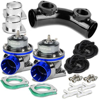 "Blue Type-FV 30 PSI Blow Off Valve BOV+Black 8"" 70 Degree/Dual Port Flange Pipe-Performance-BuildFastCar"