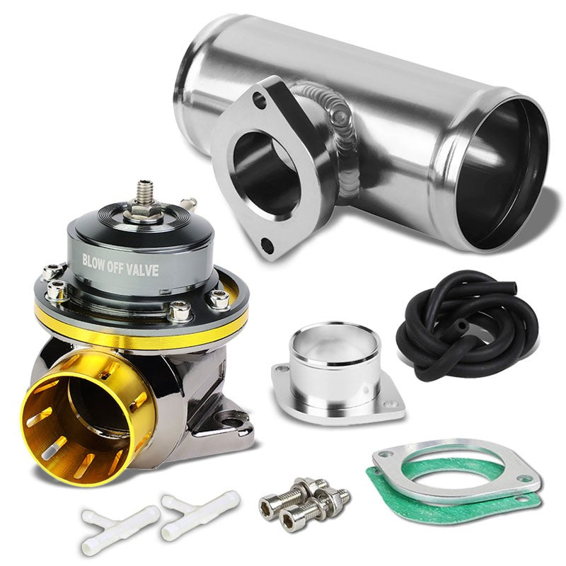 "Gold Type-FV Adjustable 30 PSI Blow Off Valve+Silver 6"" Straight Flange Pipe-Performance-BuildFastCar"