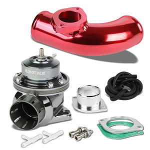 "Gunmetal Type-FV Adjustable 30 PSI Blow Off Valve+Red 8"" 80 Degree Flange Pipe-Performance-BuildFastCar"