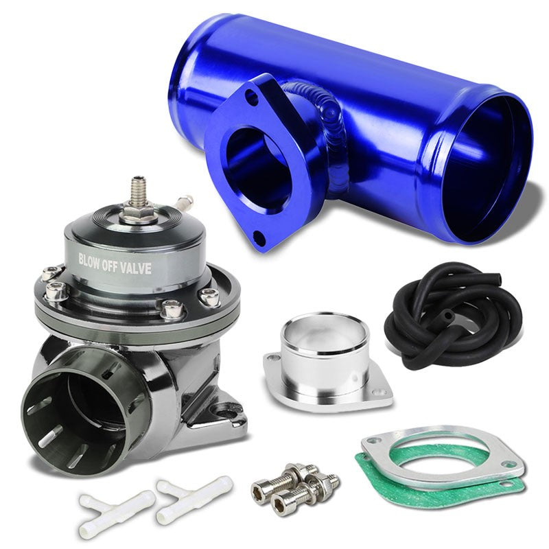 "Gunmetal Type-FV Adjustable 30 PSI Blow Off Valve+Blue 6"" Straight Flange Pipe-Performance-BuildFastCar"