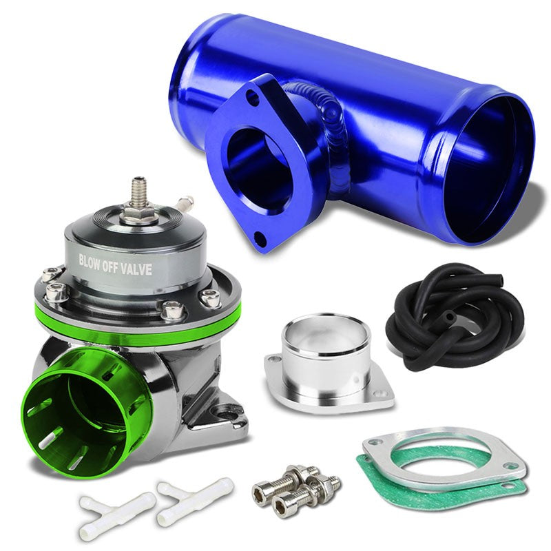 "Green Type-FV Adjustable 30 PSI Blow Off Valve BOV+Blue 6"" Straight Flange Pipe-Performance-BuildFastCar"