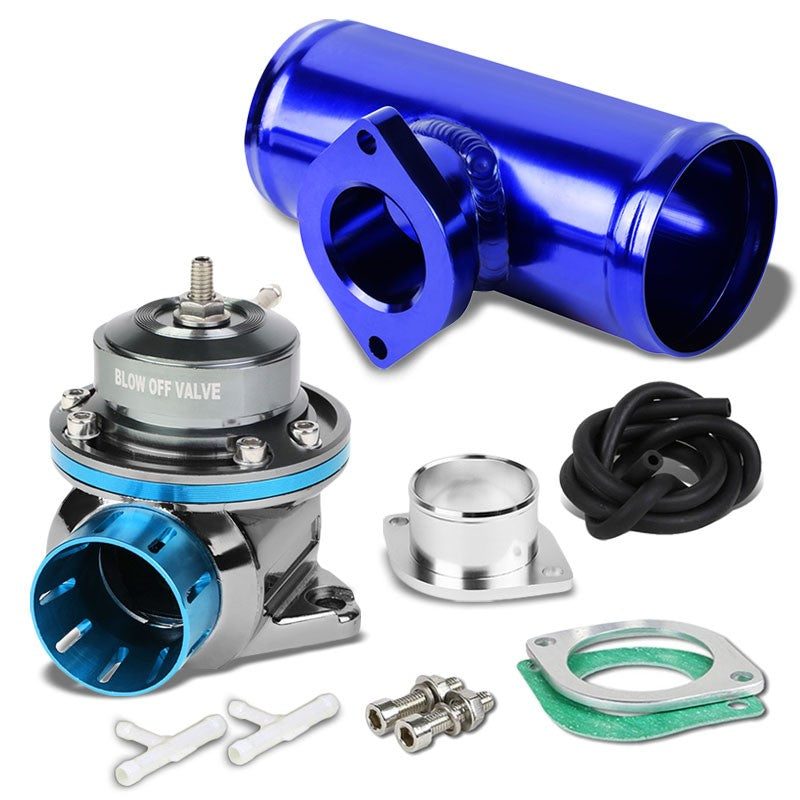"Light Blue Type-FV 30 PSI Blow Off Valve+Blue 6"" Straight Flange Pipe Adapter-Performance-BuildFastCar"