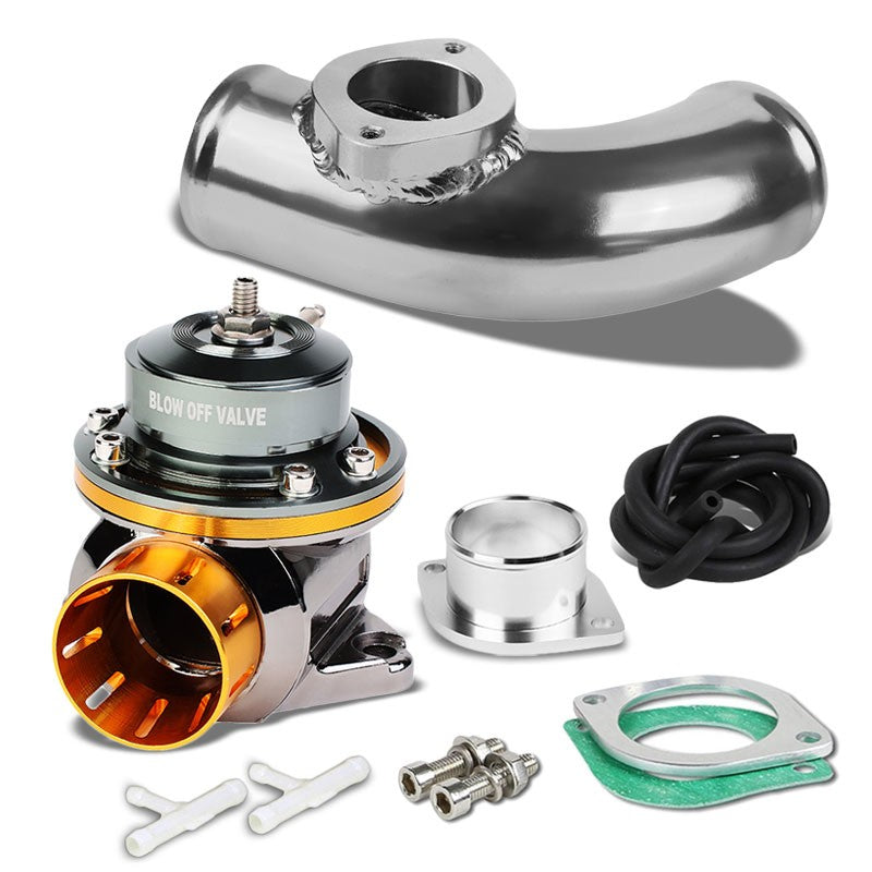 "Orange Type-FV Adjustable 30 PSI Blow Off Valve+Silver 8"" 80 Degree Flange Pipe-Performance-BuildFastCar"
