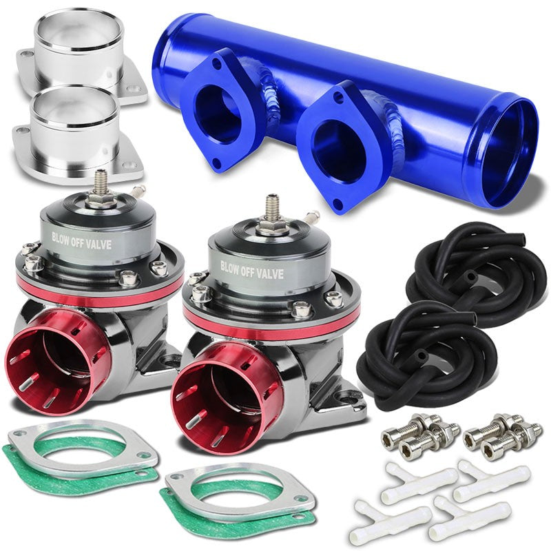 "Pink Type-FV 30 PSI Blow Off Valve BOV+Blue 9.5"" Straight/Dual Port Flange Pipe-Performance-BuildFastCar"