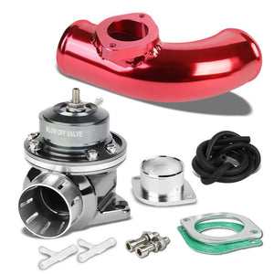"Silver Type-FV Adjustable 30 PSI Blow Off Valve+Red 8"" 80 Degree Flange Pipe-Performance-BuildFastCar"