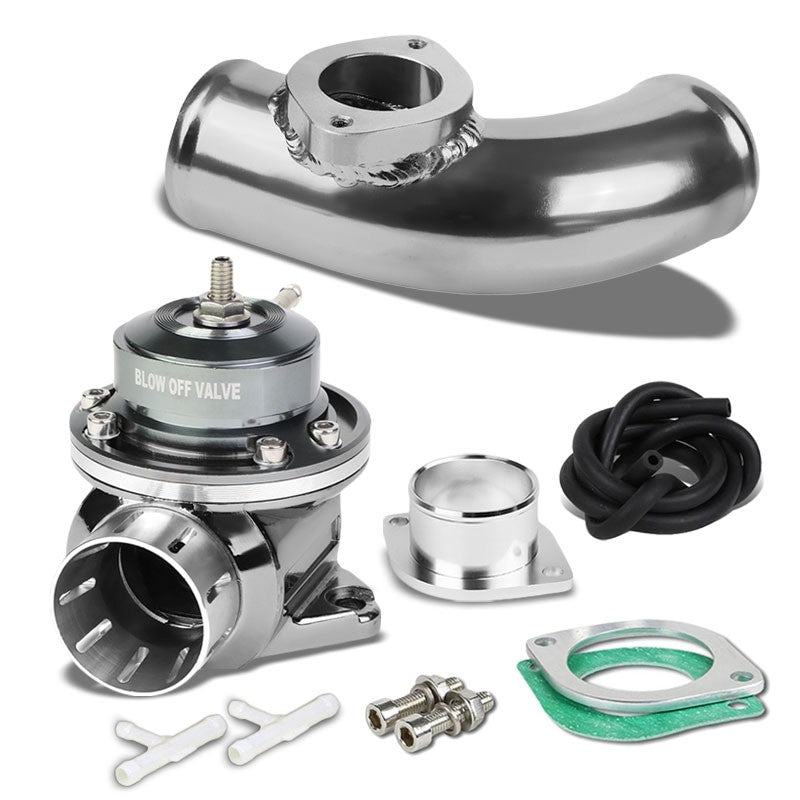 "Silver Type-FV Adjustable 30 PSI Blow Off Valve+Silver 8"" 80 Degree Flange Pipe-Performance-BuildFastCar"