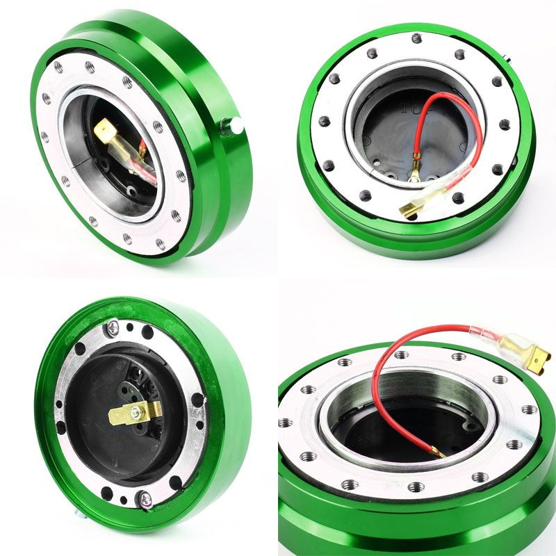 Green 70-74MM 6-Hole Anodized Spacing Bolt Pattern Steeling Wheel Adapter Hub Quick Release-Interior-BuildFastCar