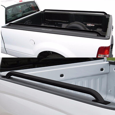 "Black Mild Steel 74.5"" Truck Bed Side Rail Bars For Ford 97-14 F-150 78.00"" Bed-Exterior-BuildFastCar"