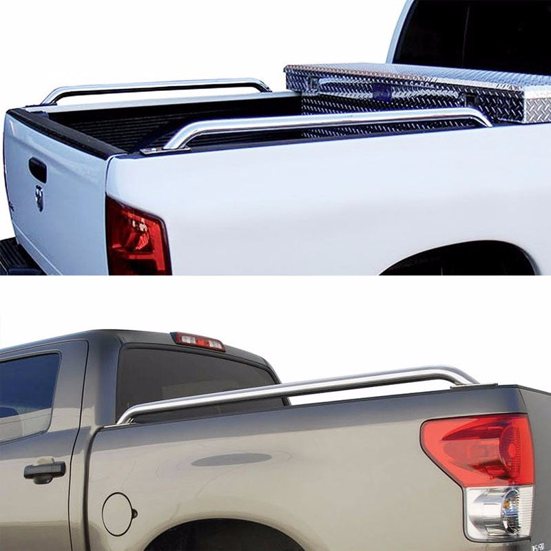 "Silver Mild Steel 65"" Bed Side Rail Bars For 07-13 Silverado/Sierra 78"" Bed-Exterior-BuildFastCar"