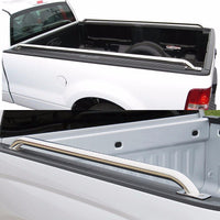 "Silver Mild Steel 87"" Side Rail Bars For 00-13 Silverado/Sierra 96""/97.6"" Bed-Exterior-BuildFastCar"