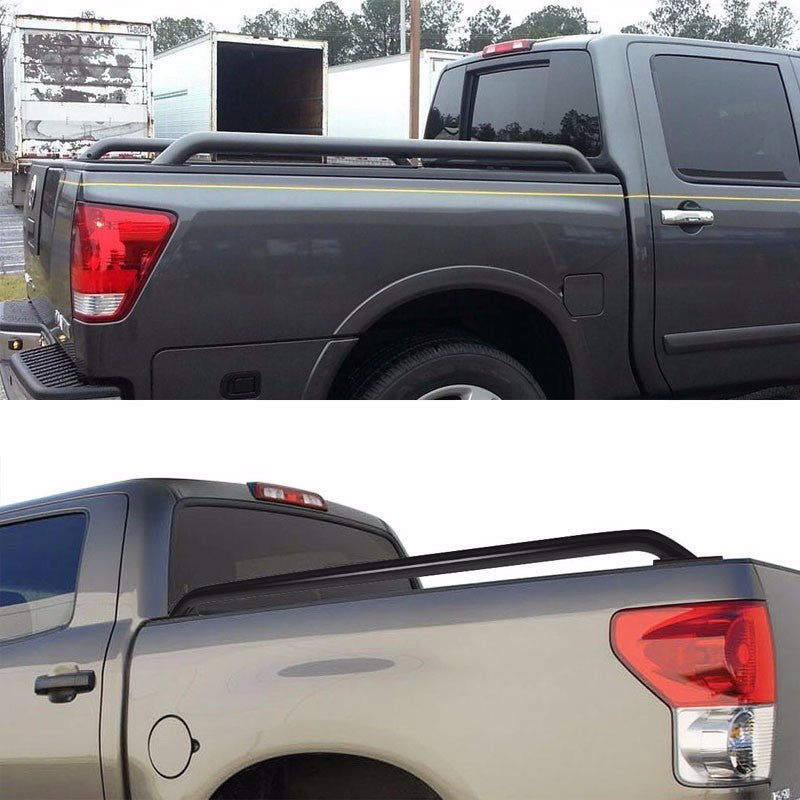 "Black Mild Steel 87"" Truck Bed Side Rail Bars For 14-17 Silverado/Sierra 96"" Bed-Exterior-BuildFastCar"