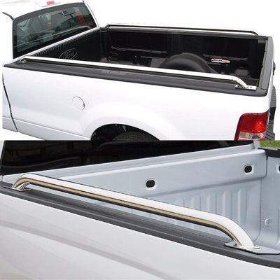 "Silver Mild Steel 87"" Bed Side Rail Bars For 14-17 Silverado/Sierra 96"" Bed-Exterior-BuildFastCar"