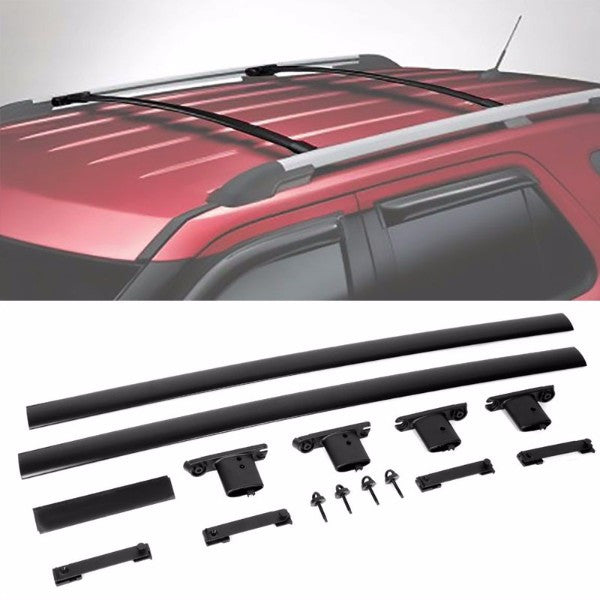 Black Aluminum Roof Rack Crossbar Top Luggage/Bag Cargo Rail for Ford 11-15 Explorer-Exterior-BuildFastCar