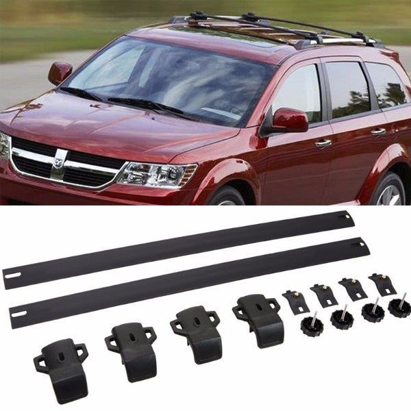 Black Aluminum Roof Rack Crossbar Top Luggage/Bag Cargo Rail for Dodge 09-17 Journey-Exterior-BuildFastCar