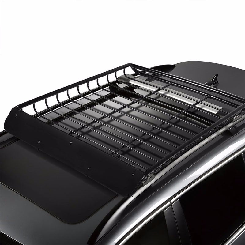 "53""x43"" Black Roof Rack Top Cargo Luggage Basket+Wind Deflector+Brackets For SUV-Exterior-BuildFastCar"