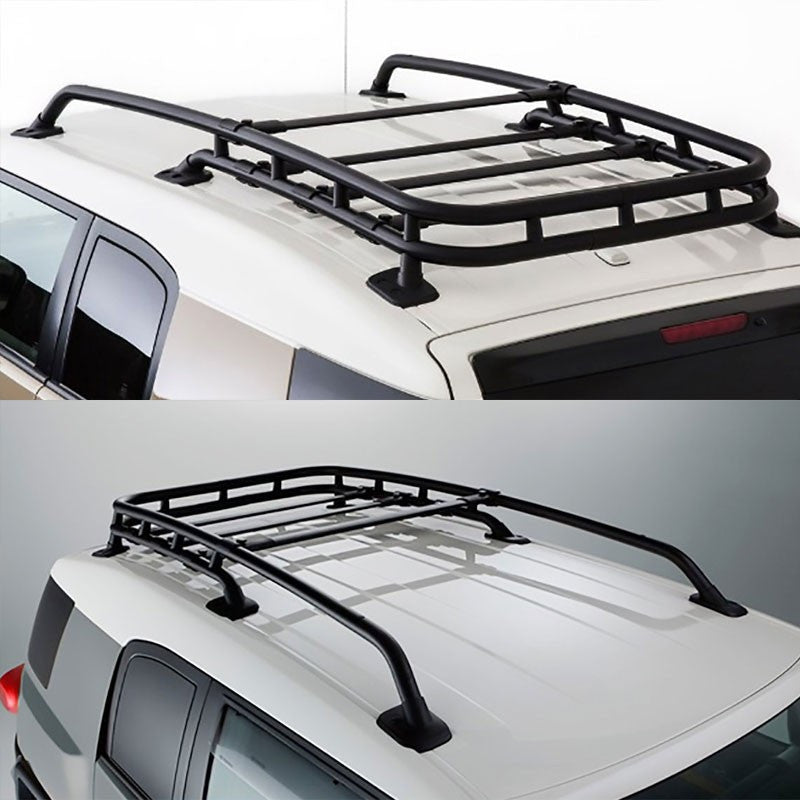 Black Aluminum Roof Rack Top Cargo Luggage Basket/Carrier+Crossbar For Toyota 07-14 FJ Cruiser-Exterior-BuildFastCar