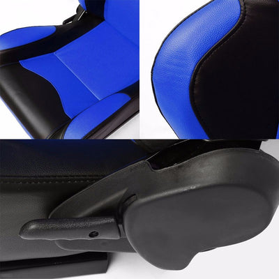 Pair Blue Center/Black Side Reclinable PVC Leather Sport Racing Seats W/Sliders-Interior-BuildFastCar