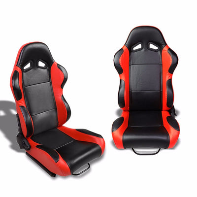 Pair Black Center/Red Reclinable PVC Leather Type-R Style Racing Seats W/Sliders-Interior-BuildFastCar