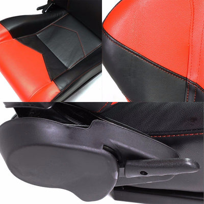 Pair Black/Red Reclinable PVC Leather Arrow Design Sport Racing Seats W/Sliders-Interior-BuildFastCar