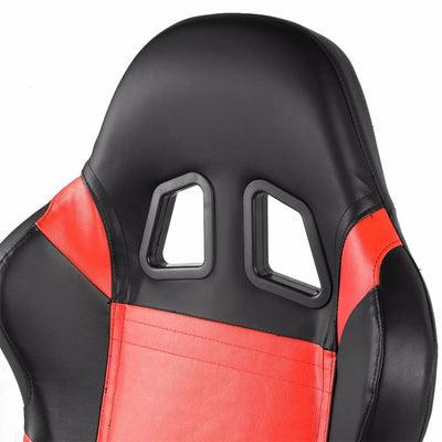 Pair Black Center/Red Side Reclinable Leater Type-R Style Racing Seats W/Sliders-Interior-BuildFastCar
