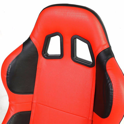 Pair Red/Black Wing Reclinable PVC Leather Type-R Sport Racing Seats W/Sliders-Interior-BuildFastCar
