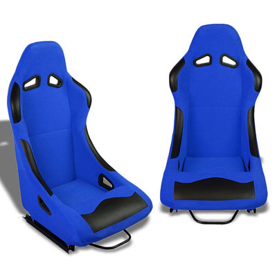 Pair Blue/Black Fixed Position Bucket Fabric Type-R Style Racing Seats W/Sliders-Interior-BuildFastCar