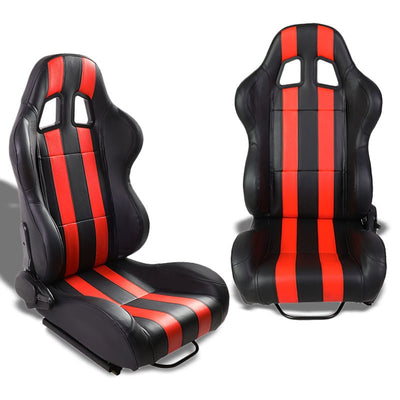 Pair Black/Red Dual Stripes Reclinable PVC Leather Type-R Sport Racing Seats W/Sliders-Interior-BuildFastCar