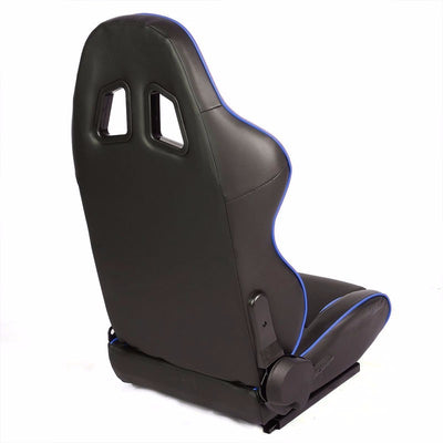 Pair Black/Blue Piping Reclinable PVC Leather Type-R Sport Racing Seats W/Sliders-Interior-BuildFastCar