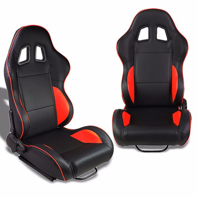 Pair Black/Red Piping Reclinable PVC Leather Type-R Sport Racing Seats W/Sliders-Interior-BuildFastCar