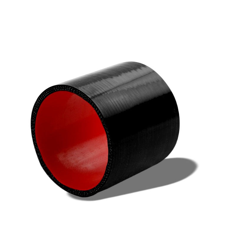 "Black-Red Silicone 3.50"" 3-Ply Straight Turbo/Intake/Intercooler Coupler Hose-Performance-BuildFastCar"