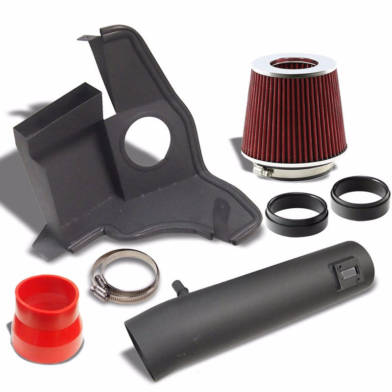 Black Shortram Air Intake+Heat Shield+Red Filter+RD Hose For Ford 11-14 Mustang-Performance-BuildFastCar