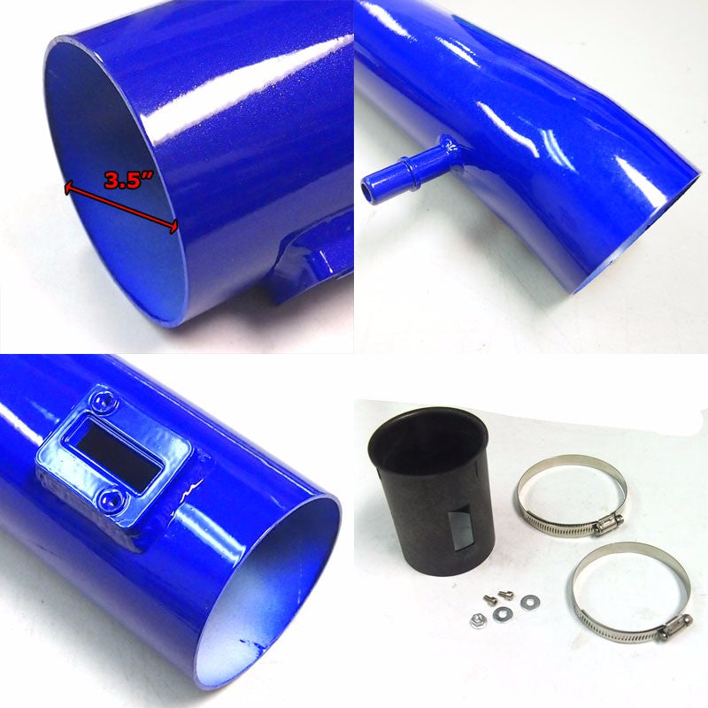 Blue Shortram Air Intake+Heat Shield+Red Filter+BK Hose For Ford 11-14 Mustang-Performance-BuildFastCar