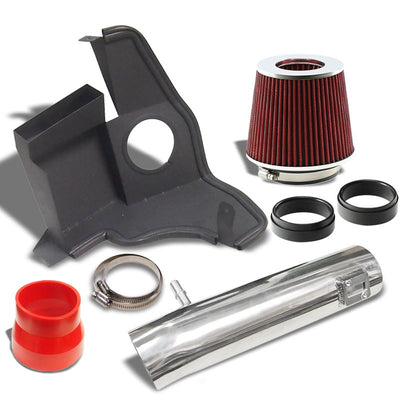Polish Shortram Air Intake+Heat Shield+Red Filter+RD Hose For 11-14 Mustang V6-Performance-BuildFastCar