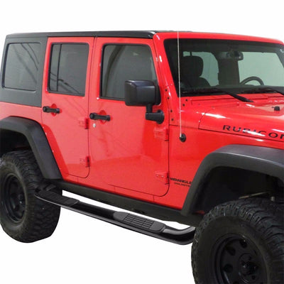 "Black Steel 90 Degree Bend 3"" Wide Step Running Board For 07-18 Jeep Wrangler JK-Running Boards/Steps-BuildFastCar"