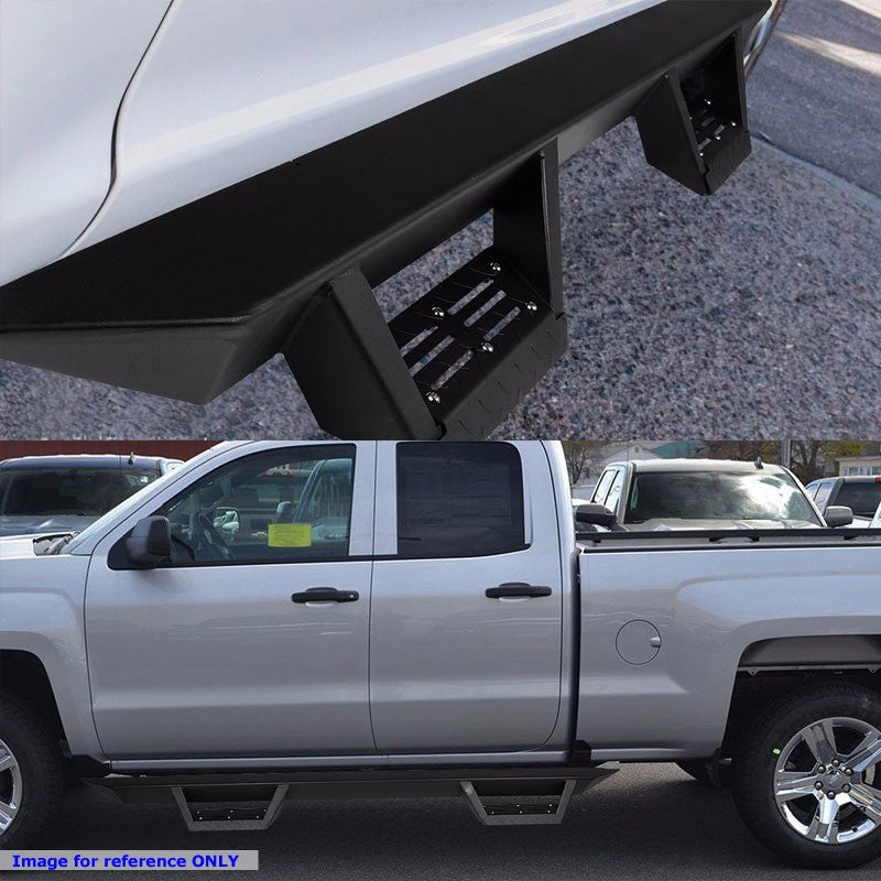 "Black Step-Down 3"" Wide Step Running Board For 07-16 Toyota Tundra Extended Crew-Running Boards/Steps-BuildFastCar"