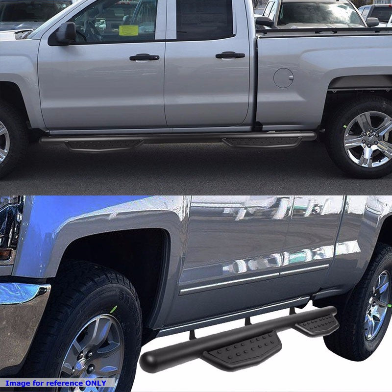 Black Aluminum Straight Sidestep Running Board For 07-17 Silverado 1500 Crew Cab-Running Boards/Steps-BuildFastCar