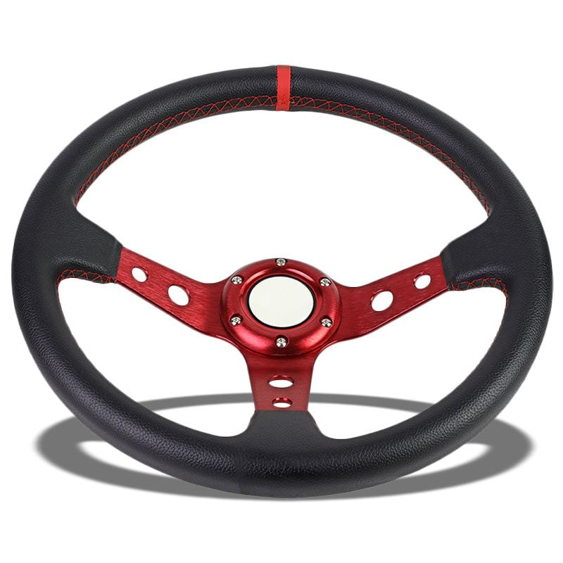 "Black Leather/Red Round Holes 350mm 3.00"" Deep Dish Steering Wheel+Horn Button-Interior-BuildFastCar"