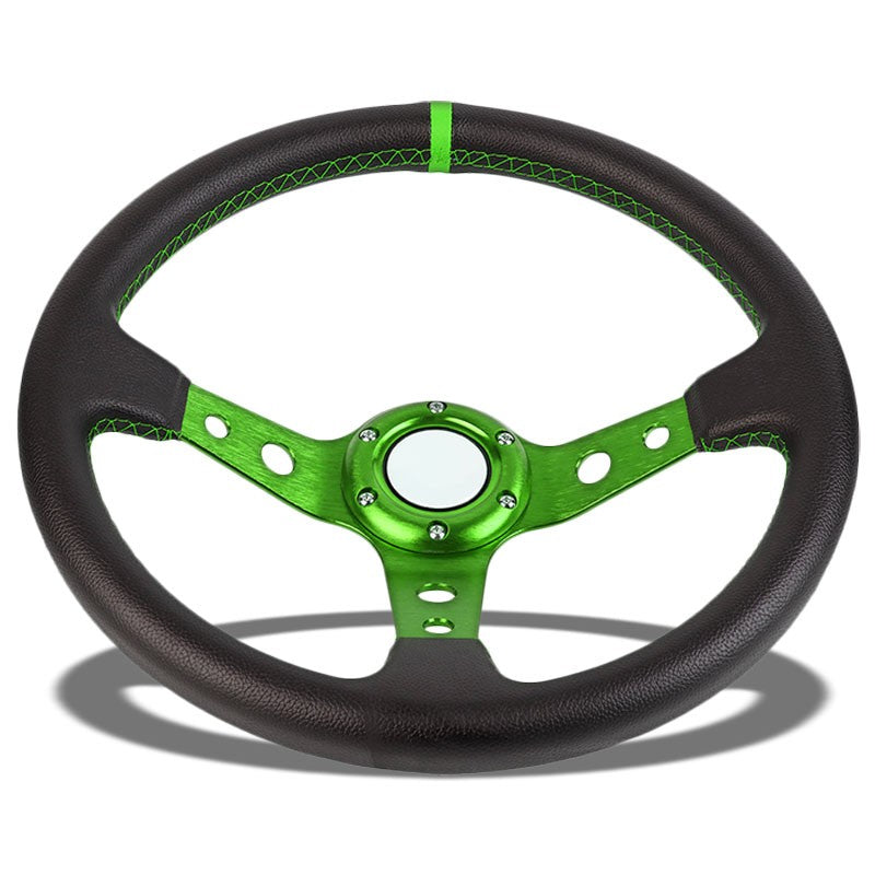 "Black Leather/Green Round Holes 350mm 3.00"" Deep Dish Steering Wheel+Horn Button-Interior-BuildFastCar"