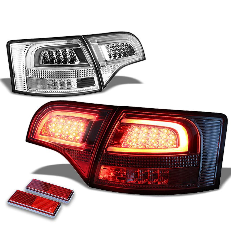 Chrome Housing Clear Lens Rear Signal Brake LED Tail Light For Audi 05-08 S4/A4 Quattro Avant-Exterior-BuildFastCar