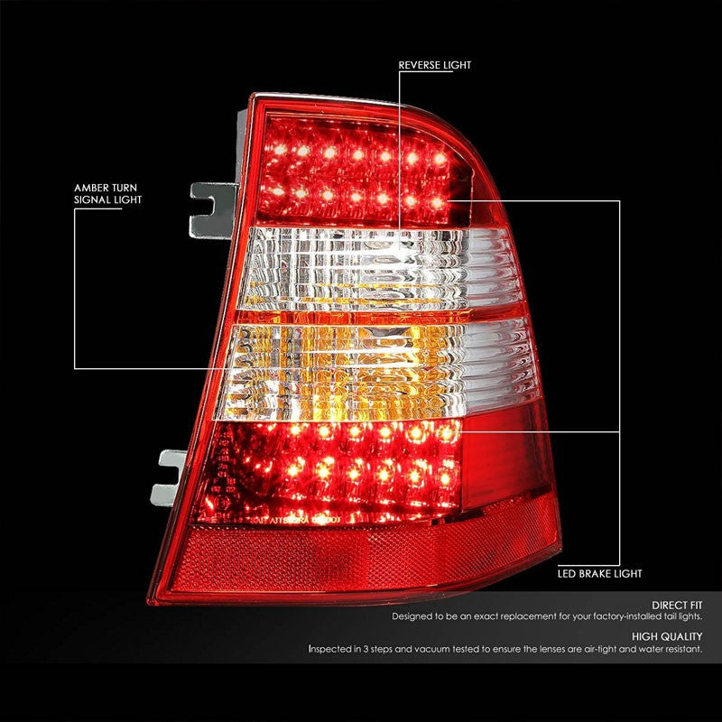 Chrome Housing Red Lens LED Tail Light For Mercedes-Benz 98-05 M-Class W163-Exterior-BuildFastCar