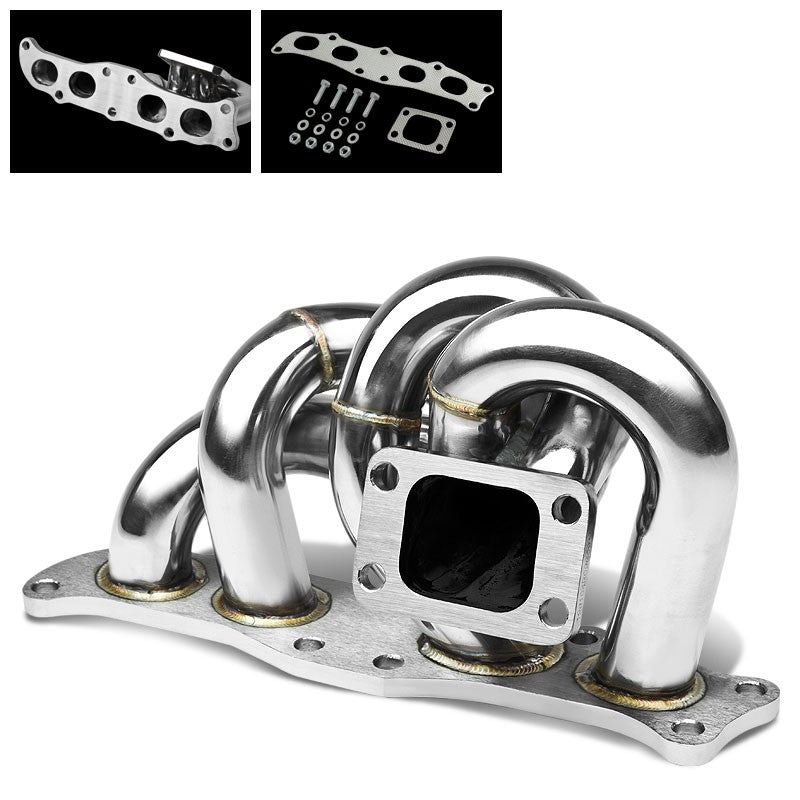 Race SS Chrome T3/T4 Flange Turbo Manifold For 91-95 MR2 3S-GE/3S-GTE 2.0L DOHC-Performance-BuildFastCar