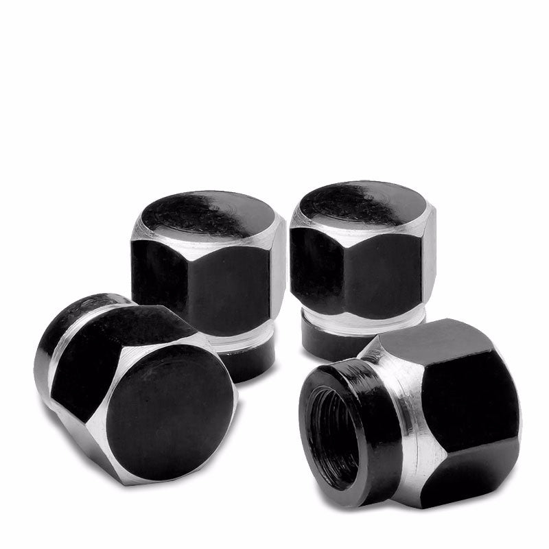 4X Black Aluminum Hexagonal Tire Rim Valve Wheel Air Port Dust Cover Stem Caps-Accessories-BuildFastCar