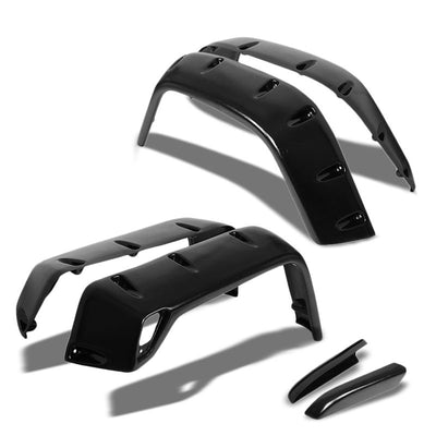 Black ABS Pocket-Riveted Style Wheel Fender Flares For 97-06 Jeep Wrangler TJ-Exterior-BuildFastCar