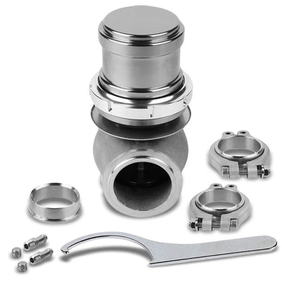 "Silver 44mm 14PSI V-Band Clamp-On Turbo 5.25""H External Wastegate Kit+Spring T22"