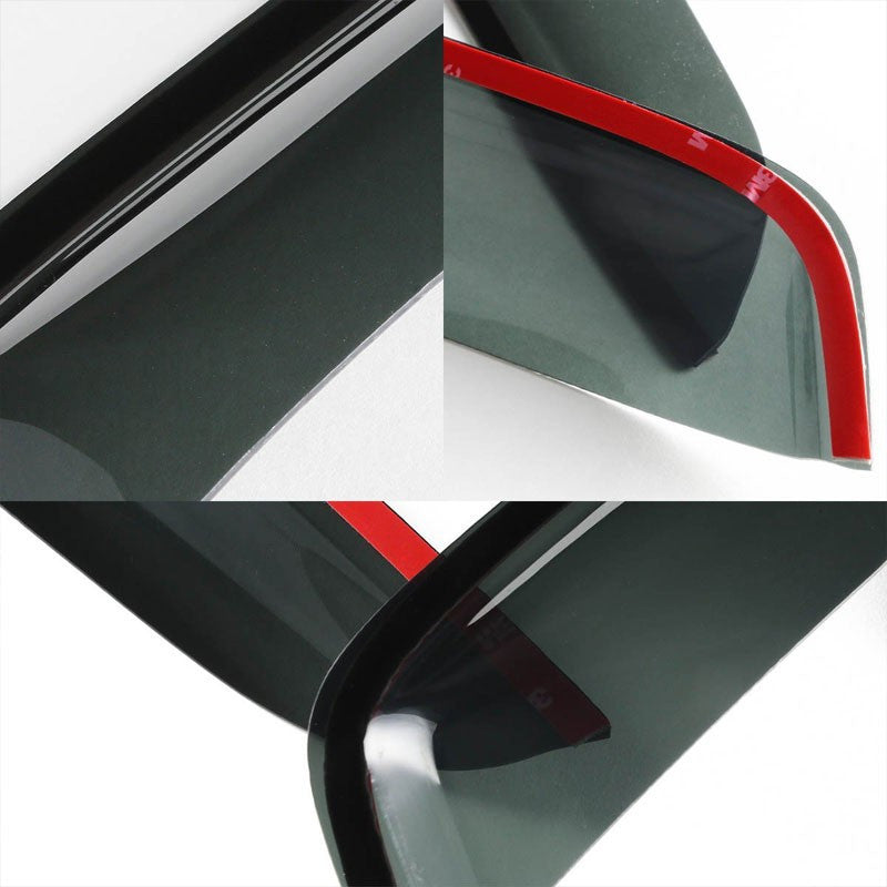 Smoke Tinted Side Window Wind/Rain Vent Deflectors Visors Guard For 92-02 E-150 Econoline-Exterior-BuildFastCar