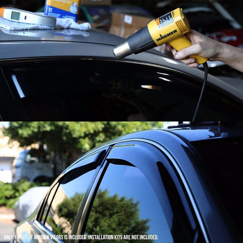 Smoke Tinted Side Window Wind/Rain Vent Deflectors Visor Guard for Pontiac 00-05 Booneville-Exterior-BuildFastCar