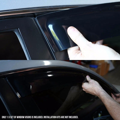 Smoke Tinted Side Window Wind/Rain Vent Deflectors Visors Guard for Dodge 97-04 Dakota-Exterior-BuildFastCar