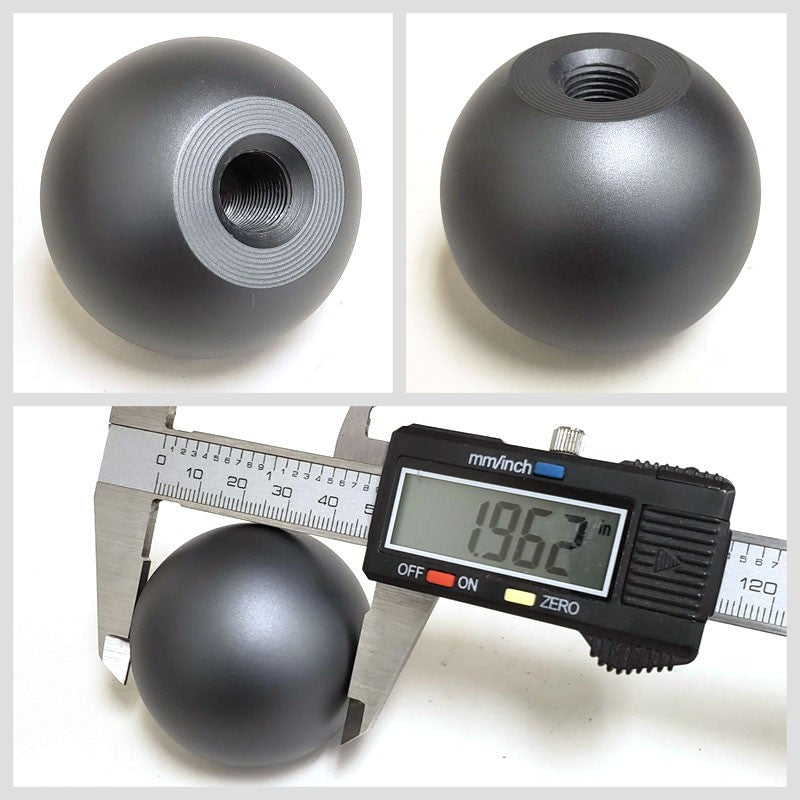 "5/6-Speed Gunmetal 2"" Ball Competition Clear Pattern 10mm x 1.5 Race Shift Knob"