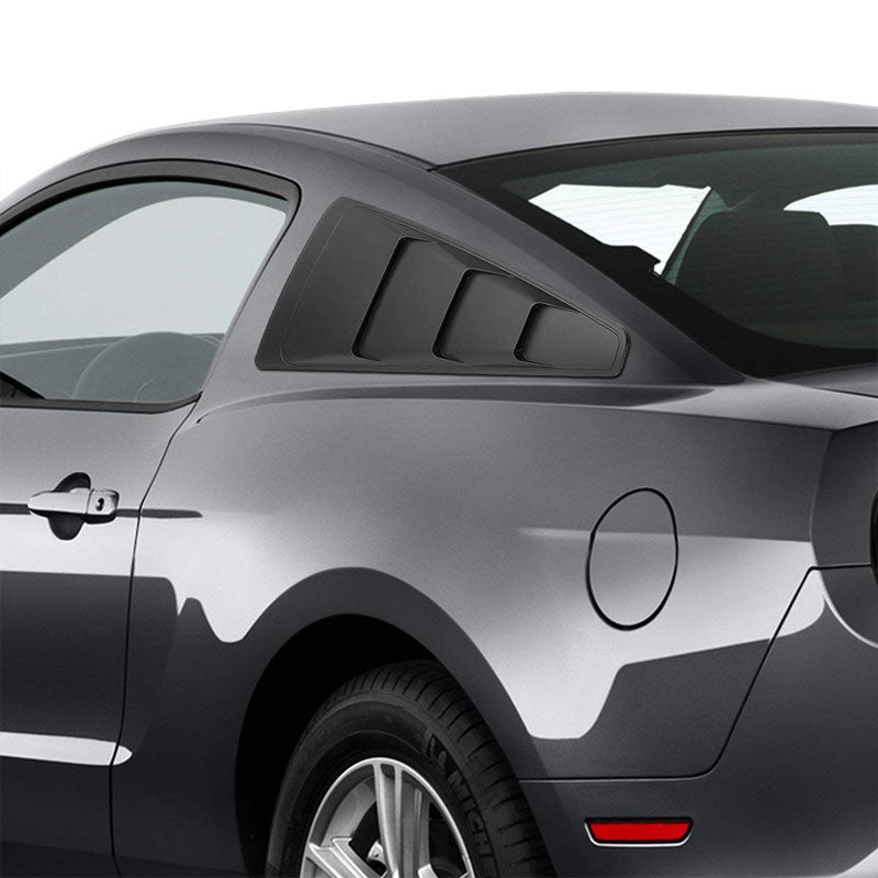 2PC Rear Matte Black Window Louver Side Scoop Cover For 05-14 Ford Mustang Coupe-Exterior-BuildFastCar