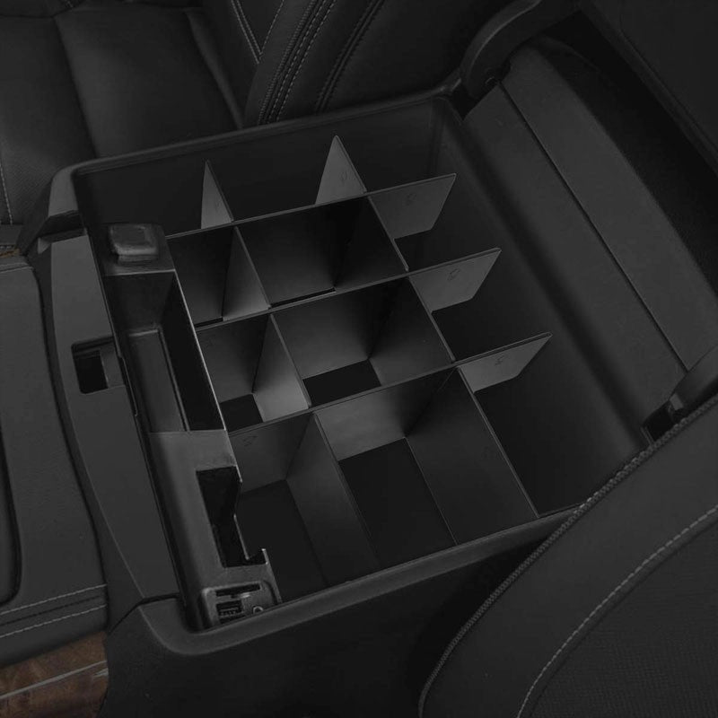 Black Center Console Storage Organizer Insert Divider For 15-18 Ford F-150 V6/V8-Interior-BuildFastCar